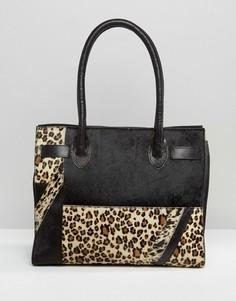 Сумка-тоут с кожаными и леопардовыми вставками Urbancode - Черный