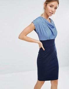 Контрастное платье в горошек со свободным воротом Closet - Синий