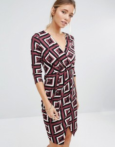Драпированное платье с V-образным вырезом Closet - Фиолетовый