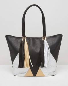 Сумка-шоппер с металлической отделкой Yoki Fashion - Черный