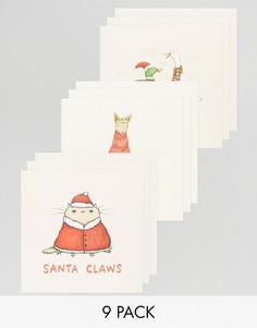 Новогодние открытки Ohh Deer Santa Claws - 9 штук в упаковке - Мульти
