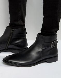 Черные кожаные ботинки челси с пряжкой Dune - Черный