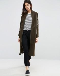 Пальто с добавлением шерсти и отделкой в стиле куртки-пилот ASOS - Зеленый