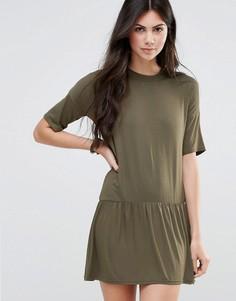 Платье-футболка с плиссированным подолом Daisy Street - Зеленый