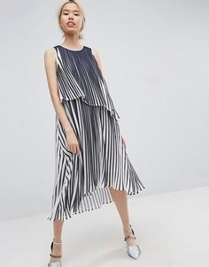 Платье миди со складками ASOS WHITE - Мульти
