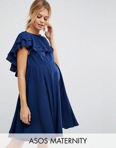 Приталенное платье мини с глубоким вырезом сзади ASOS Maternity - Синий