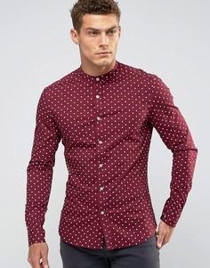 Бордовая суперузкая рубашка в горошек ASOS - Красный