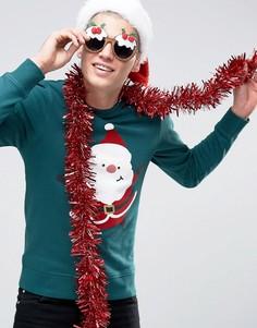 Новогодний свитшот с принтом Jack & Jones - Зеленый
