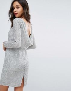 Платье с отделкой металлик и драпированным вырезом Miss Selfridge - Серебряный