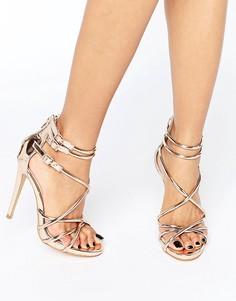 Гладиаторские сандалии металлик на каблуке Boohoo - Золотой