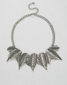 Броское ожерелье с листиками Nylon - Серебряный