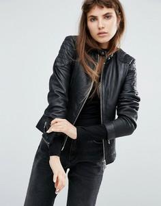 Кожаная куртка без воротника со стеганой отделкой Goosecraft - Черный