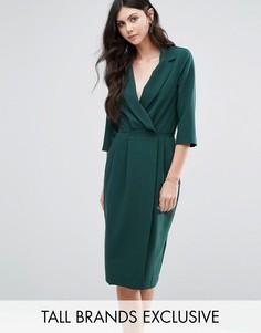 Платье с рукавами 3/4 и запахом спереди Alter Tall - Зеленый