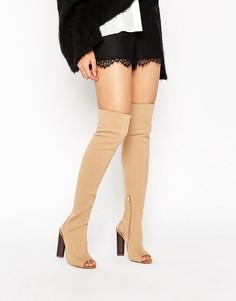 Сапоги-ботфорты с открытым носком Truffle - Бежевый