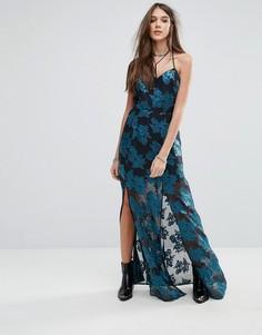 Платье макси с цветочным принтом и разрезом Lovers + Friends - Мульти