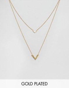 Двухрядное ожерелье с V-образными подвесками Gorjana Knox - Золотой