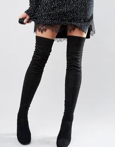 Сапоги-ботфорты в стиле 60-х New Look - Черный