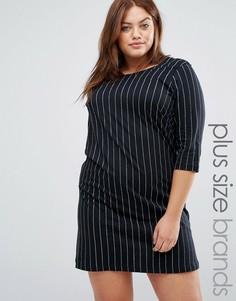 Цельнокройное платье в тонкую полоску Junarose - Черный