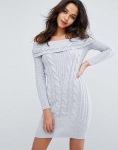 Платье крупной вязки с открытыми плечами Miss Selfridge - Мульти