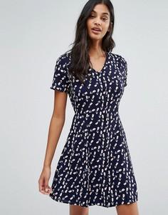 Чайное платье с принтом тюльпанов Poppy Lux Vivi - Синий
