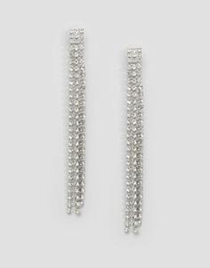 Серьги с кристаллами Swarovski в 3 ряда Krystal - Прозрачный