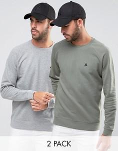 Набор из 2 свитшотов с вышивкой (серый меланж/выбеленный хаки) ASOS - СКИДКА 15 - Мульти