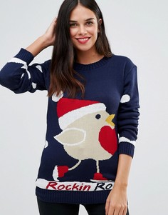 Новогодний джемпер Club L Rockin Robin - Темно-синий