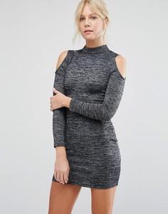 Облегающее платье с открытыми плечами Parisian - Серый