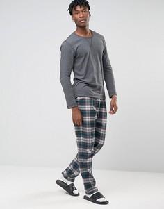 Фланелевые штаны для дома в клетку Esprit - Темно-синий
