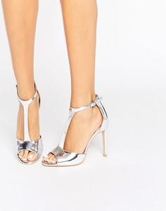 Серебристые сандалии на каблуке с Т‑образным ремешком Public Desire Alex - Серебряный