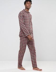 Фланелевая пижама классического кроя в клетку Esprit - Красный