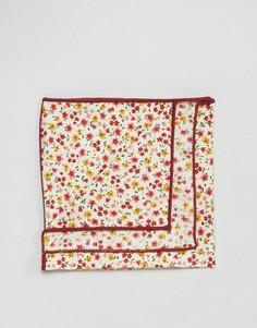 Платок для пиджака с мелким цветочным принтом в коробке 7X - Красный