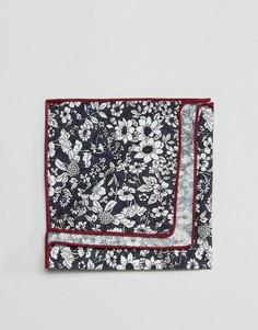 Квадратный платок для пиджака с цветочным принтом в коробке 7X - Темно-синий