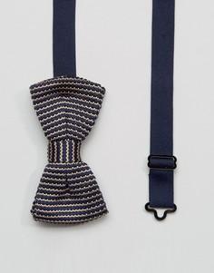Вязаный галстук-бабочка в полоску в коробочке 7X - Темно-синий
