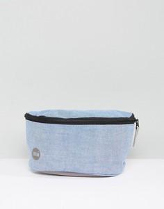 Голубая сумка-кошелек на пояс из ткани шамбре Mi-Pac - Серый