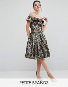Пышная жаккардовая юбка миди для выпускного Chi Chi London Petite - Мульти