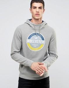 Серый худи через голову с контрастными рукавами, капюшоном и логотипом Hollister - Серый
