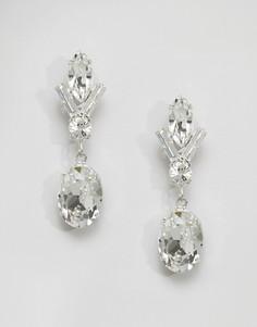 Серьги-подвески с кристаллом Swarovski Krystal - Серебряный