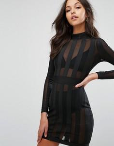 Облегающее платье-премиум мини из сетки в полоску Missguided - Черный