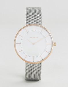 Часы с серебристым ремешком Skagen - Серебряный