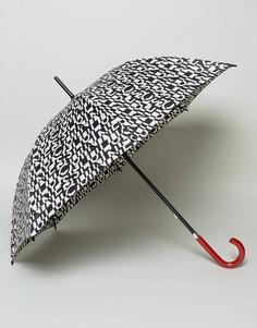 Зонт-трость с принтом Lulu Guinness Kensington - Черный