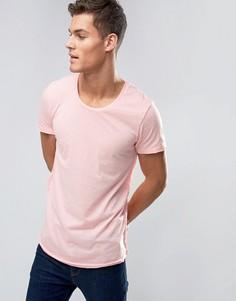 Длинная футболка в полоску с закругленным низом Jack & Jones - Розовый