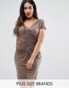 Платье с драпировкой Goddiva Plus - Бежевый