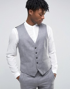 Фактурный жилет узкого кроя Burton Menswear - Серый