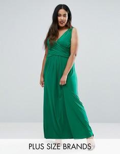 Платье макси размера плюс с запахом спереди Goddiva Plus - Зеленый