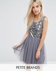 Платье с тюлевой юбкой и пайетками на лифе Boohoo Petite - Серый