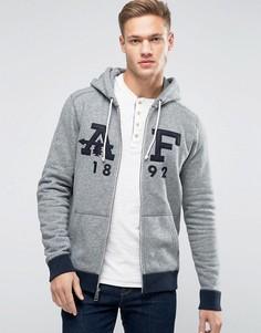 Серый худи на молнии с аппликацией в виде логотипа Abercrombie & Fitch - Серый