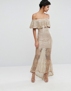 Кружевное платье макси с открытыми плечами Love Triangle - Золотой