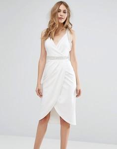 Платье миди с запахом и декоративной отделкой TFNC - Белый