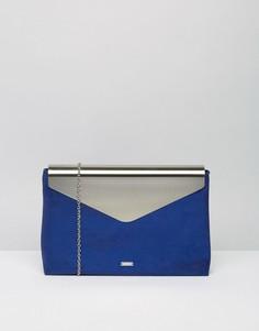 Клатч-конверт с клапаном цвета металлик Nali - Синий